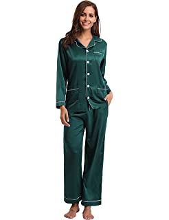 feee41e62e Aibrou Women s Satin Pajamas Set Long Sleeve and Long Button-Down Sleepwear  Loungewear