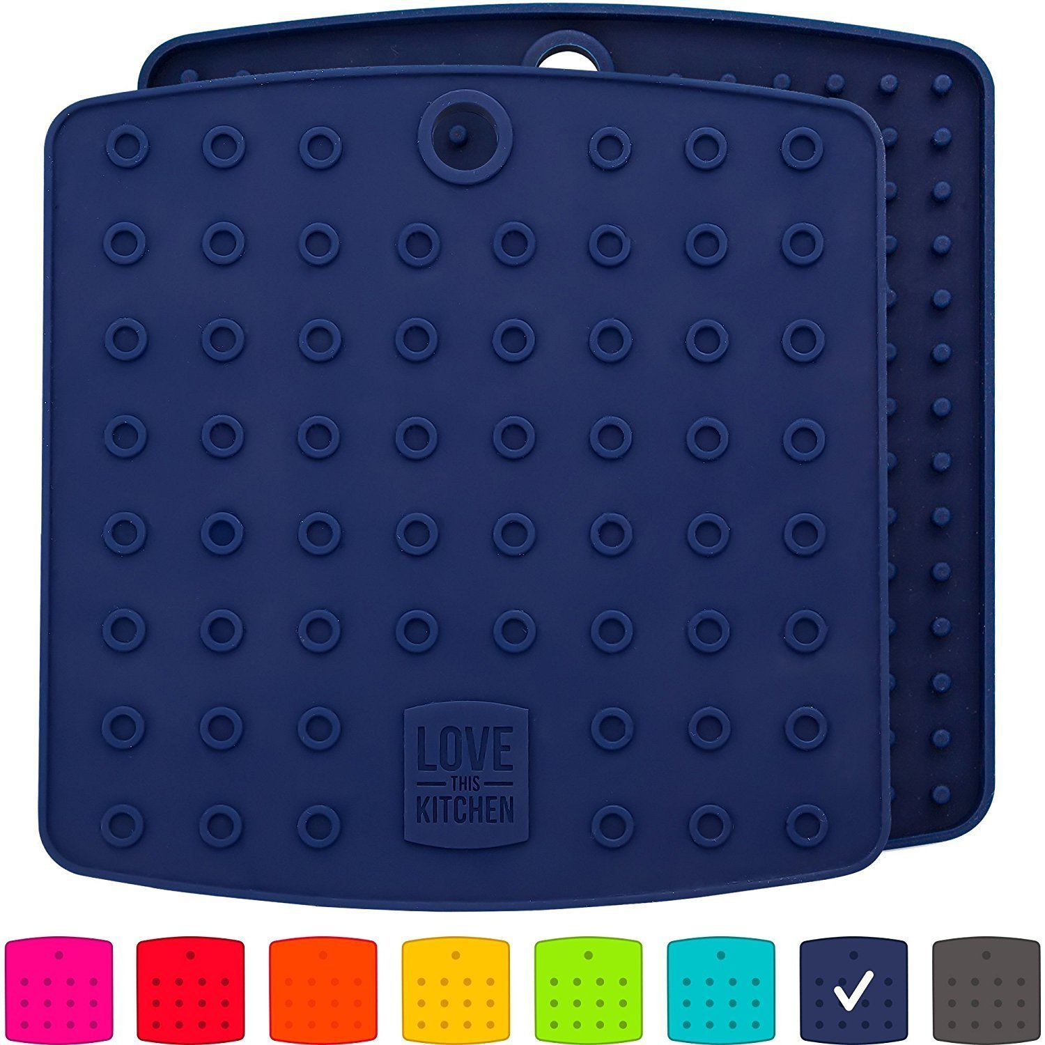 Premium Silicone Trivet Mats/Hot Pads, Pot Holders, Spoon Rest, Jar Opener & Coasters - Our 5 in 1 Kitchen Tool is Heat Resistant to 442 °F, Thick & Flexible (7'' x 7'', Navy Blue, 1 Pair)