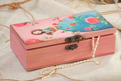 Caja de madera hecha a mano para accesorios rectangular con princesa