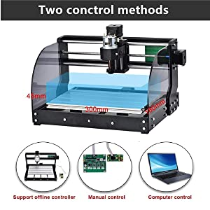 Titoe 2-in-1 3000mW Upgrade Version CNC 3018 Pro-M Machine,GRBL Control DIY Mini CNC Machine, 3 Axis Pcb Milling Machine, Wood Router Engraver with Offline Controller, with ER11 and 5mm Extension Ro . (Color: Black,Slive, Tamaño: 3018Pro-M+3000mW)