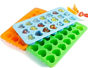 YLOVOW 21 Grid Heart-Shaped 2-Piece Food Silicone Mold Ice Box Ice,Chocolate, Children's Food Supplement, Jelly, Ice Cream Mold