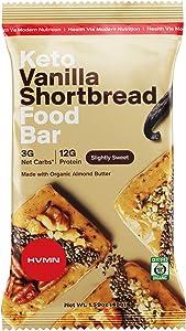 H.V.M.N. Keto Food Bar - Vanilla Shortbread Keto Bars | Gluten Free, 13g Protein, Low Carb, No Added Sugar, Certified Organic Keto Snack (12 Pack)…