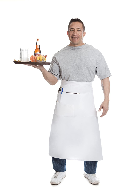 White bistro apron - Amazon Com Restaurant Waiter Waitress White Waist Apron Long Bistro Length With Multiple Pockets Kitchen Dining