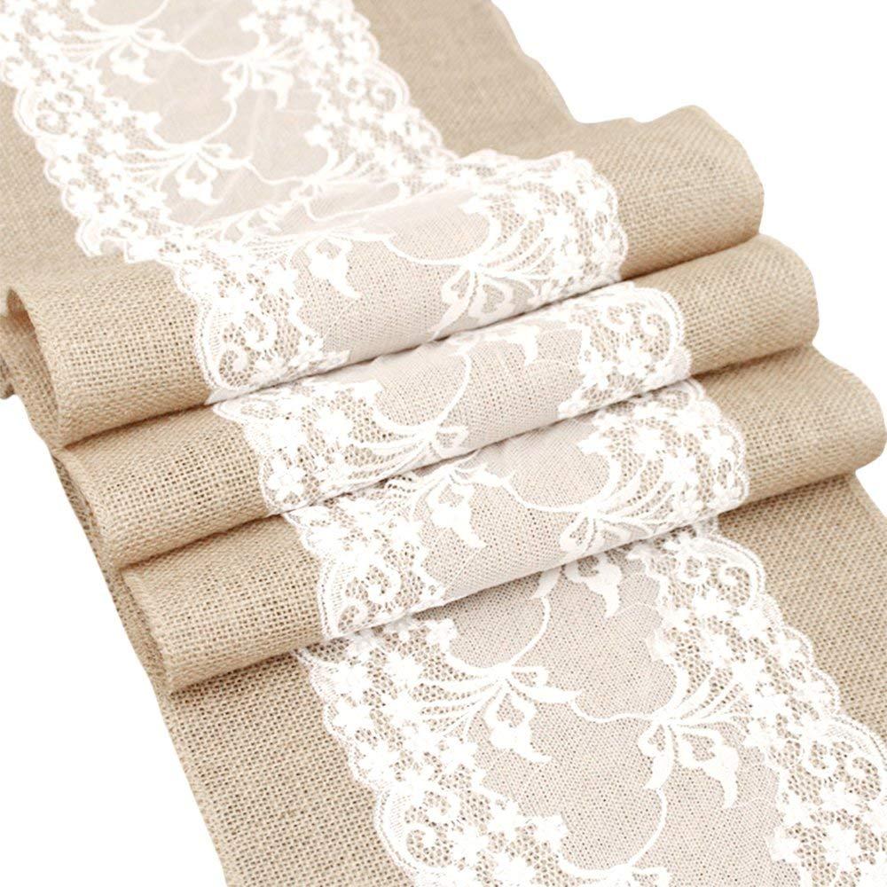 Luofanfei Tischläufer Hochzeit Jute Jute Jute mit Weiß Spitze Vintage Look Tischläufer Leinen Natur Tischdekoration(4 , 5 Stück) B07PMHDDCD Tischlufer 71931d