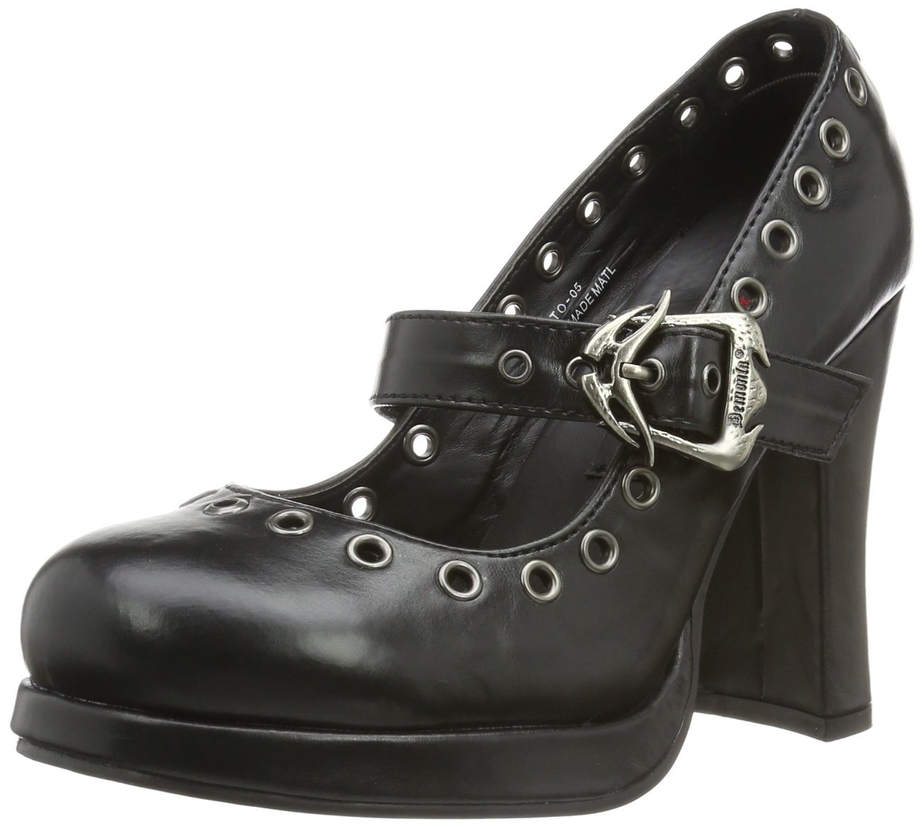 Demonia CRYPTO-05 - Merceditas Mujer 40 EU|Negro (Blk Vegan Leather)