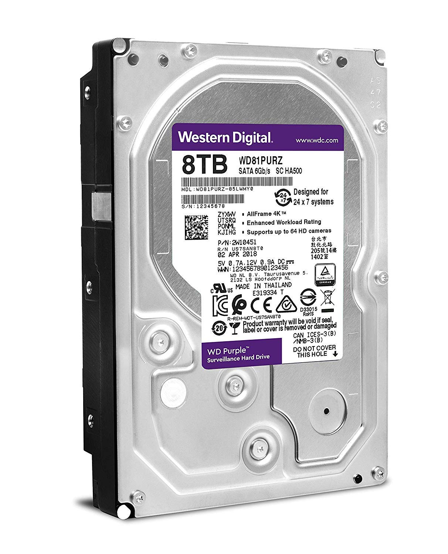 WD Purple 8TB Surveillance Internal Hard Drive - 5400 RPM Class, SATA 6 Gb/s, 256 MB Cache, 3.5'' - WD81PURZ by Western Digital (Image #4)