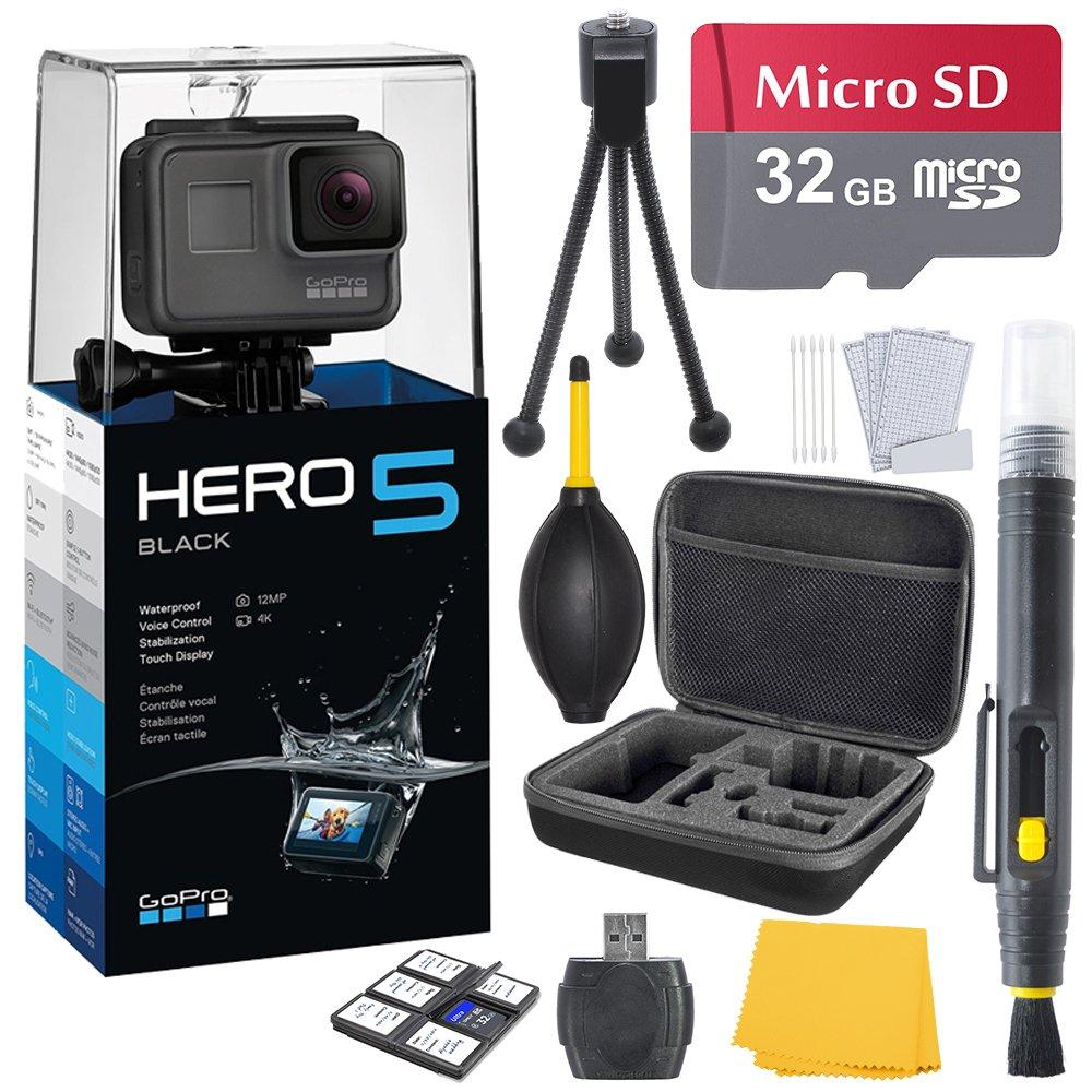 GoPro HERO 5 Black (7 items) + 32 GB Micro SD + Case + Accessory Bundle by K&M