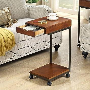 Aany - Mesa auxiliar para sofá, con cajón, extraíble, para sala de ...
