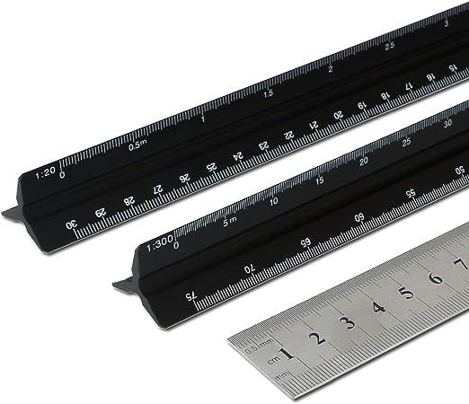 3pcs Metal Aluminium Engineer Triangular 3 Set Scale Ruler Architect