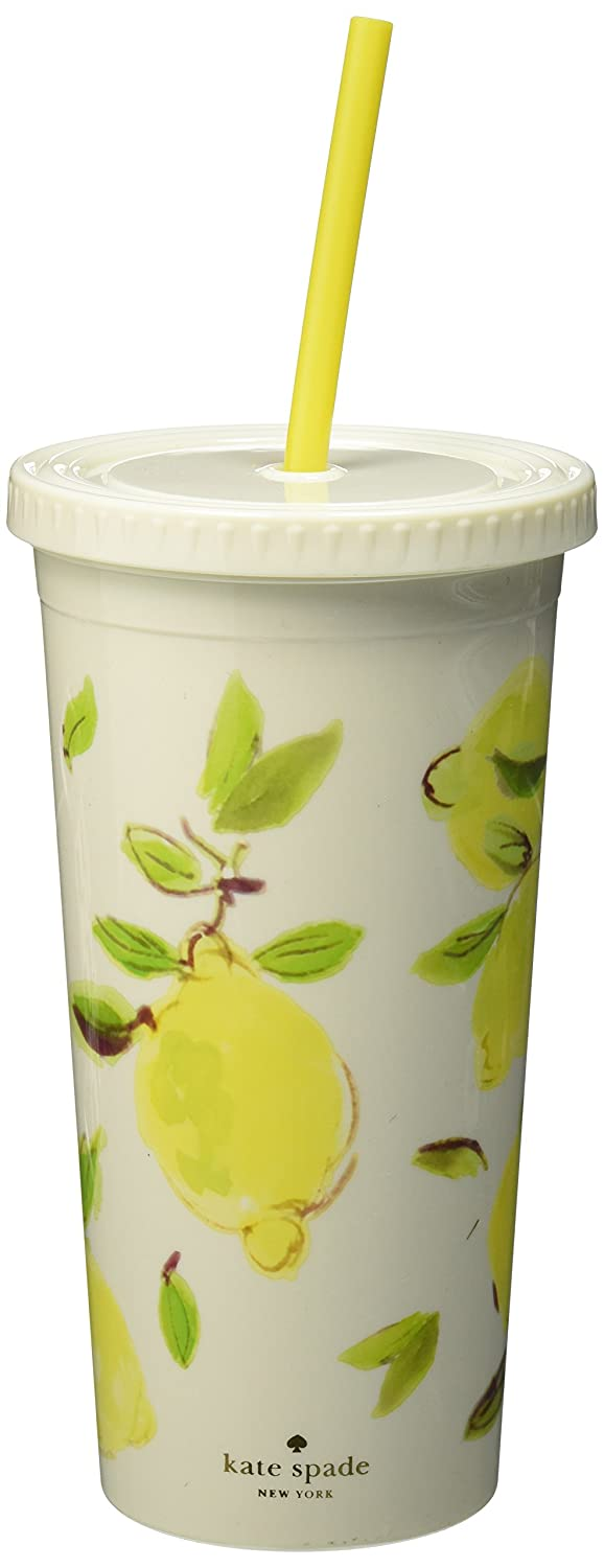 Kate Spade New York Women's Lemon Tumbler with Straw Bright Yellow Lifeguard Press Inc. 175433