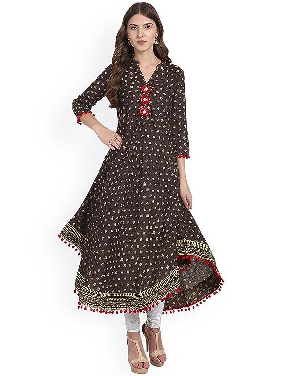 Amayra Womens Cotton Printed Anarkali Kurti  Brown