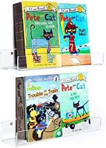 NIUBEE Kids Acrylic Floating Bookshelf 16.5 Inch,2 Pack,Clear Invisible Wall Bookshelves Ledge Book Shelf,50% Thicker with Free Screwdriver