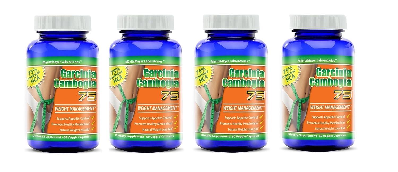 Garcinia Cambogia 75 Weight Management 75 Hca 60 Veggie Caps Per Bottle 4 Bottles