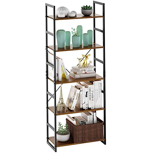 LANGRIA Bookcases 5-Tier Bookshelf Vintage Industrial Bookcase Shelf Organizer with with Resistant Black Metal Frame and Sturdy Multifunctional Antique Wood Design Shelving Unit 23.6 x 11.8 x 62 in