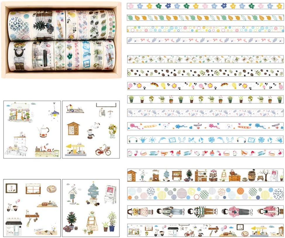 Washi Tape Rolls Set,16 Roll Decorative Masking Tape Collection with 3 Size,Including 8 Sheet Stickers Adhesive Tape for Scrapbooking Gift-Wrapping DIY Journal Photo Album A