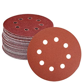 50PCS 125mm Sanding Discs 5 inch Sandpaper Pad Hook and Loop 8 Hole 40-2000 Grit