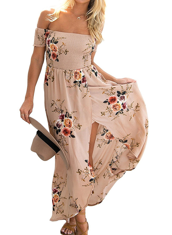 Farktop Boho Style Women's Off Shoulder Chiffon Long Dress Summer Beach Floral Print Split Party Maxi Dress