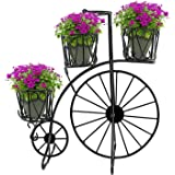 GIG Black Medium Tricycle Planter Without pots/Cycle Style Metal Stand Planter/Garden Pot (Black)