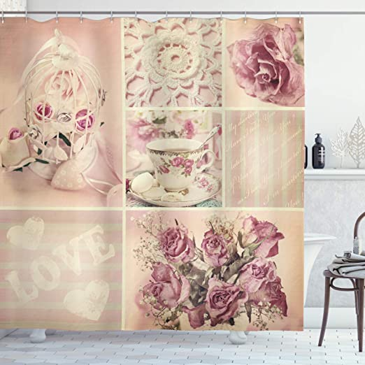 Amazon Com Ambesonne Shabby Flora Shower Curtain Grandmother