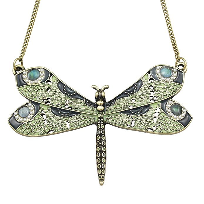 Vintage Style Jewelry, Retro Jewelry Q&Q Fashion Victorian Green Celtic Dragonfly Enamel Simulated - Pearl Wing Art Nouveau Pendant Necklace  AT vintagedancer.com