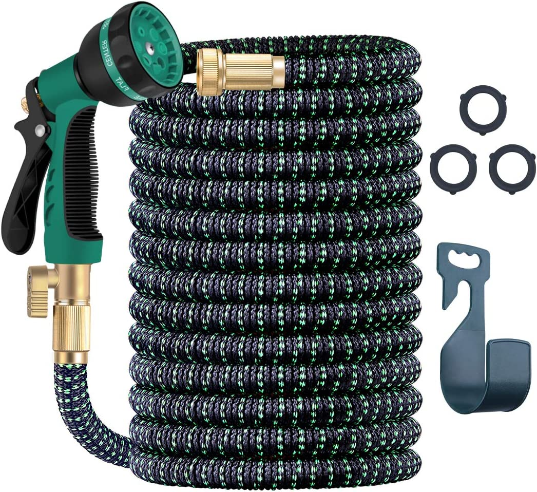 Expandable Garden Hose 100Ft in Length Hose 8 Functions Sprayer with 4-Layer of Thickened Latex 3/4