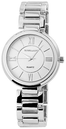 Reloj mujer Blanco Plata Números Romanos analógico metal Reloj de pulsera