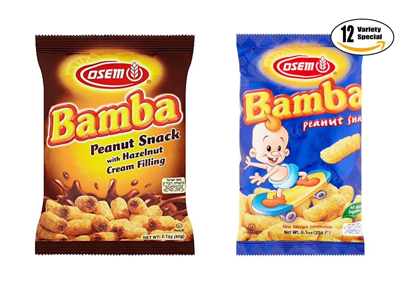 Osem Bamba Regular & Hazelnut With Cream Filling Peanut Snack Variety Pack!, 0.7 oz Reg and 2.1 oz Hazelnut (Pack of 12, Total of 16.8 Oz)