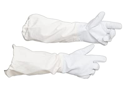 Forest Beekeeping Supply - Goatskin Leather Beekeeper's Glove with Long Canvas Sleeve & Elastic Cuff(Medium)