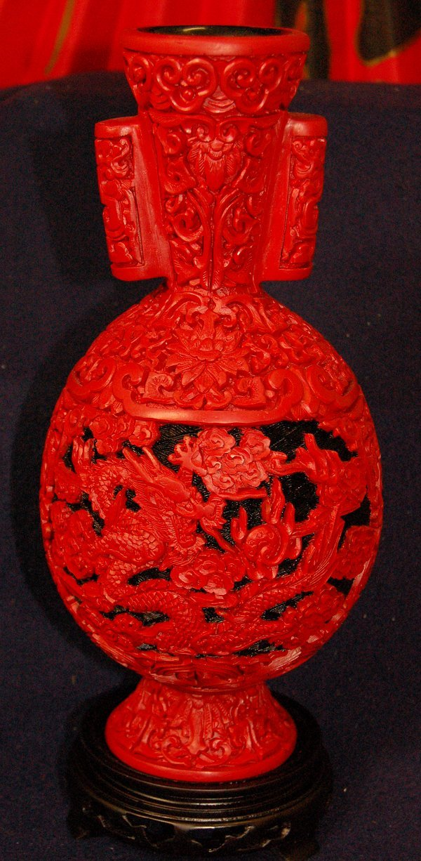 Large Cinnabar Dragon Vase with Round Handles - Limited Quantity