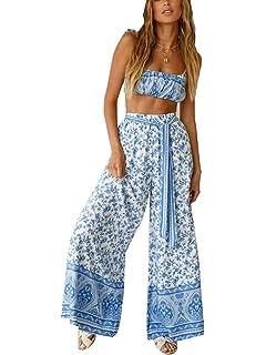 0be23be84 Fancyinn 2 Piezas Mujer Conjunto Fiesta Playa Verano Pantalon y Top ...