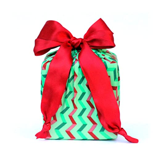 Eco Friendly + Reusable Stretchy Fabric Gift Wrap - Green Chevron (Small/Medium Combo Pack)