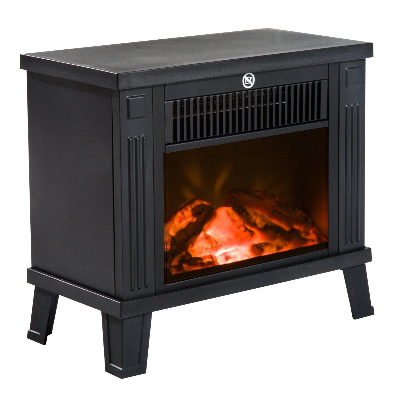 Homcom –  Chimenea elé ctrica de suelo - Diseñ o moderno - 600 W/1200 W de potencia con efecto llama - Medidas 34, 5 x 17 x 31 cm - Color negro