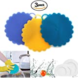 Silicone Sponge Food Grade Kitchen Household Dish Cleaning Sponge Scrubber, Multipurpose Antimicrobial Mildew Free Non Stick Brush, Magic Scrub Sponge for Dishes Fruit Vegetables (Blue+Yellow+Purple)