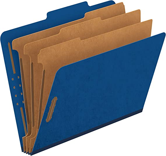 2257BL Blue Legal Size 2//5 Cut 2 Dividers 10 Per Box Pendaflex Top-Tab Pressboard Classification Folders