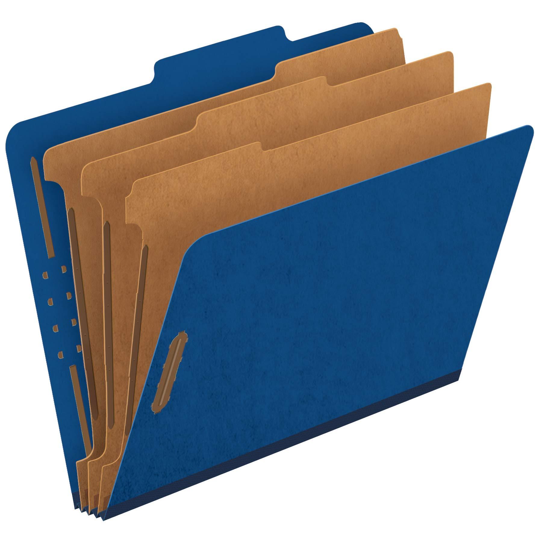 Pendaflex Classification Folders, Standard, 3 Dividers, Embedded Fasteners, 2/5 Cut Tab, Dark Blue, Letter, 10/BX (24096) by Globe Weis