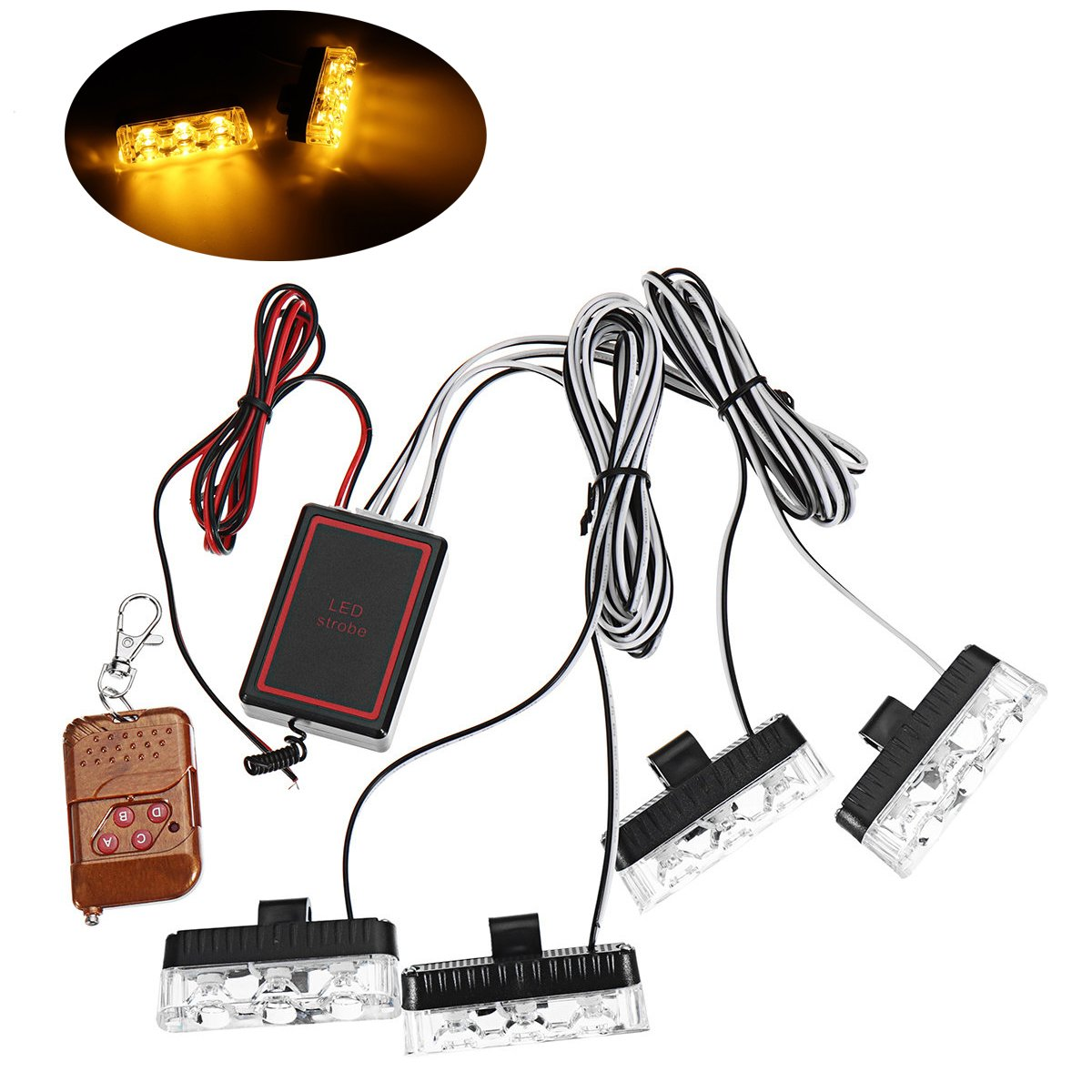 Amber HEHEMM 16 led Car Truck Emergency Lamp Flashing Lights DC 12V Universal Strobe Light Warning Light with Wireless Remote