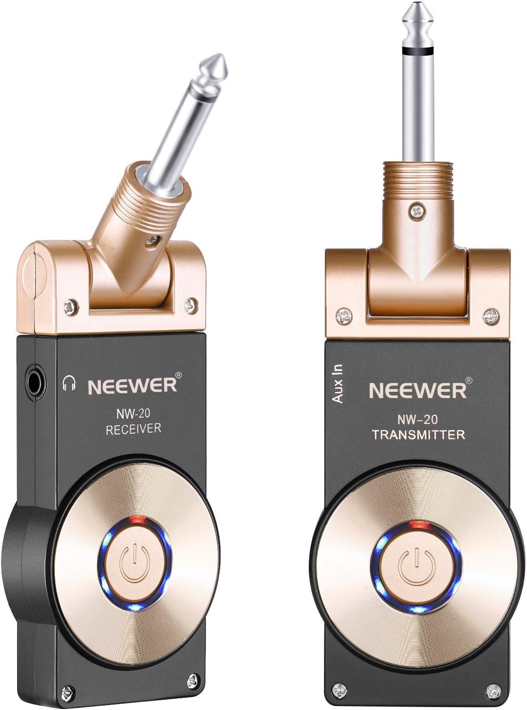 Neewer 2,4GHZ Receptor Transmisor de Guitarra Recargable Inalámbrico, Sistema Inalámbrico de Guitarra con Función de Indicador de Batería (NW-20)