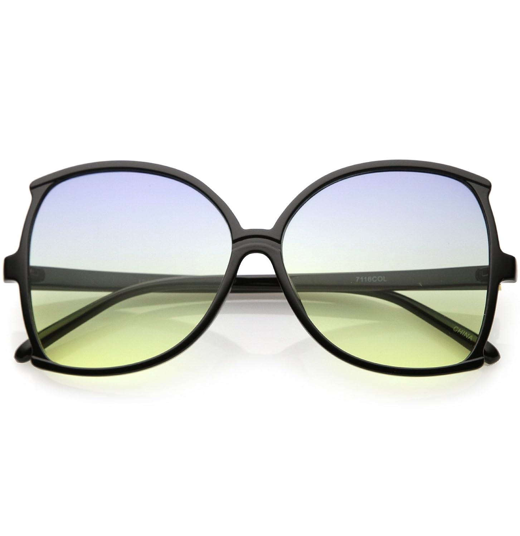 d1af3b24d16 Amazon.com  sunglassLA - Women s Oversize Butterfly Sunglasses Slim Arms  Color Tinted Lens 61mm (Black Blue Yellow)  Clothing