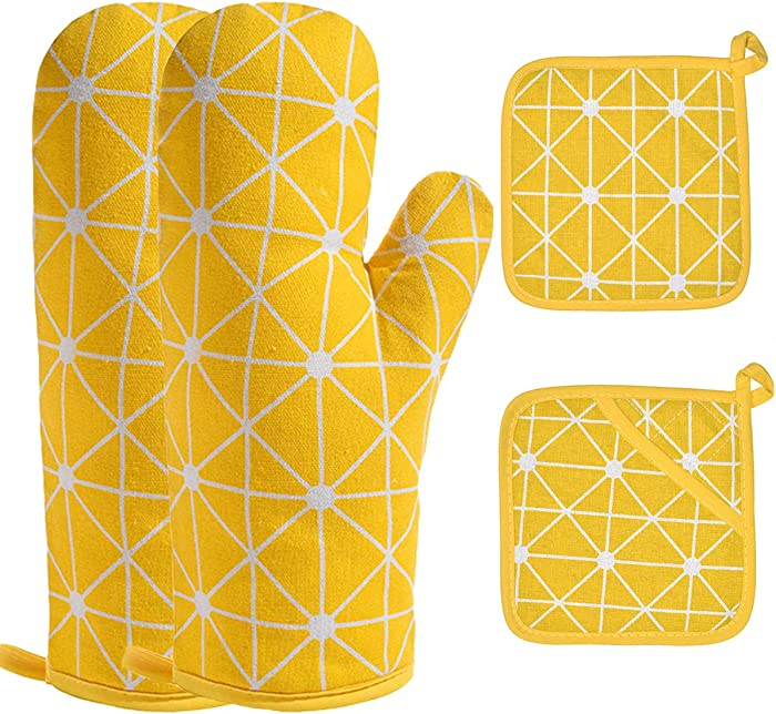 Win Change Oven Mitts and Pot Holders-Oven Mitts and Potholders Soft Cotton Plaid Design Lining Non Slip Oven Mitt Set for Kitchen Cooking Baking Grilling (4-Piece Set) (Yellow)
