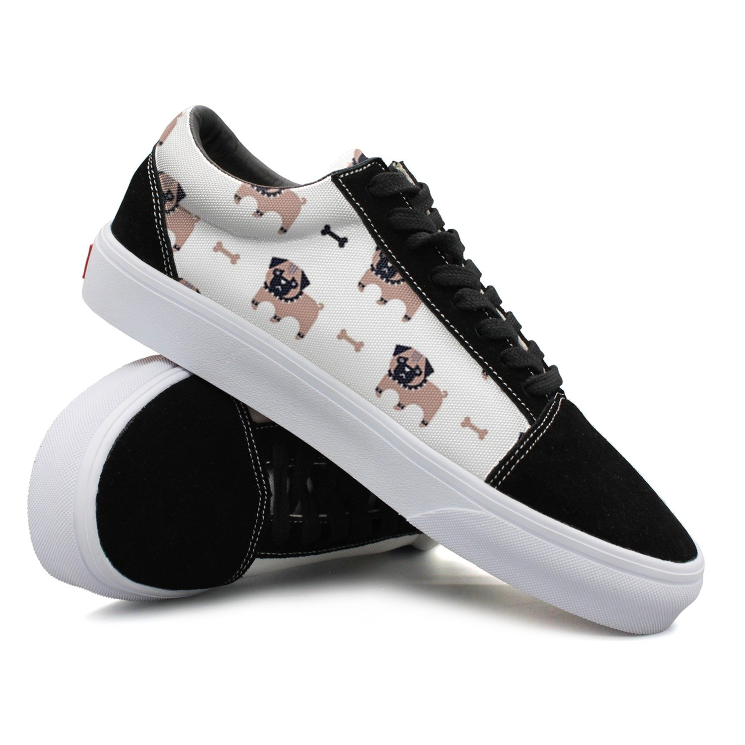 Pug And Bone Pattern Women Casual Shoes Skateboard Sports New Trainers