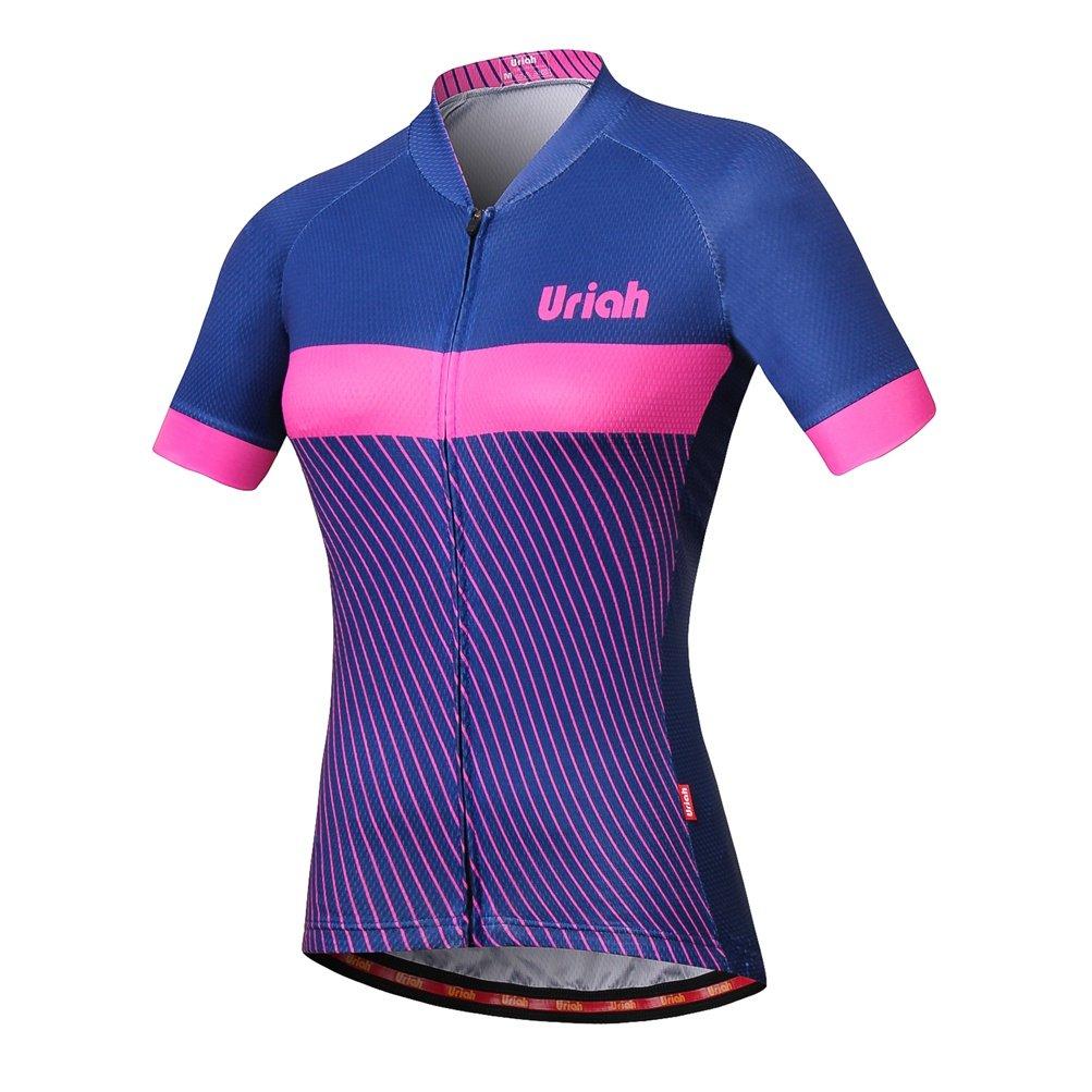 Uriah女性用自転車ジャージー半袖Reflective背面ファスナー付きバッグ B07DYPKC1R Chest 33.8''=Tag XS ブルーピンク ブルーピンク Chest 33.8''=Tag XS