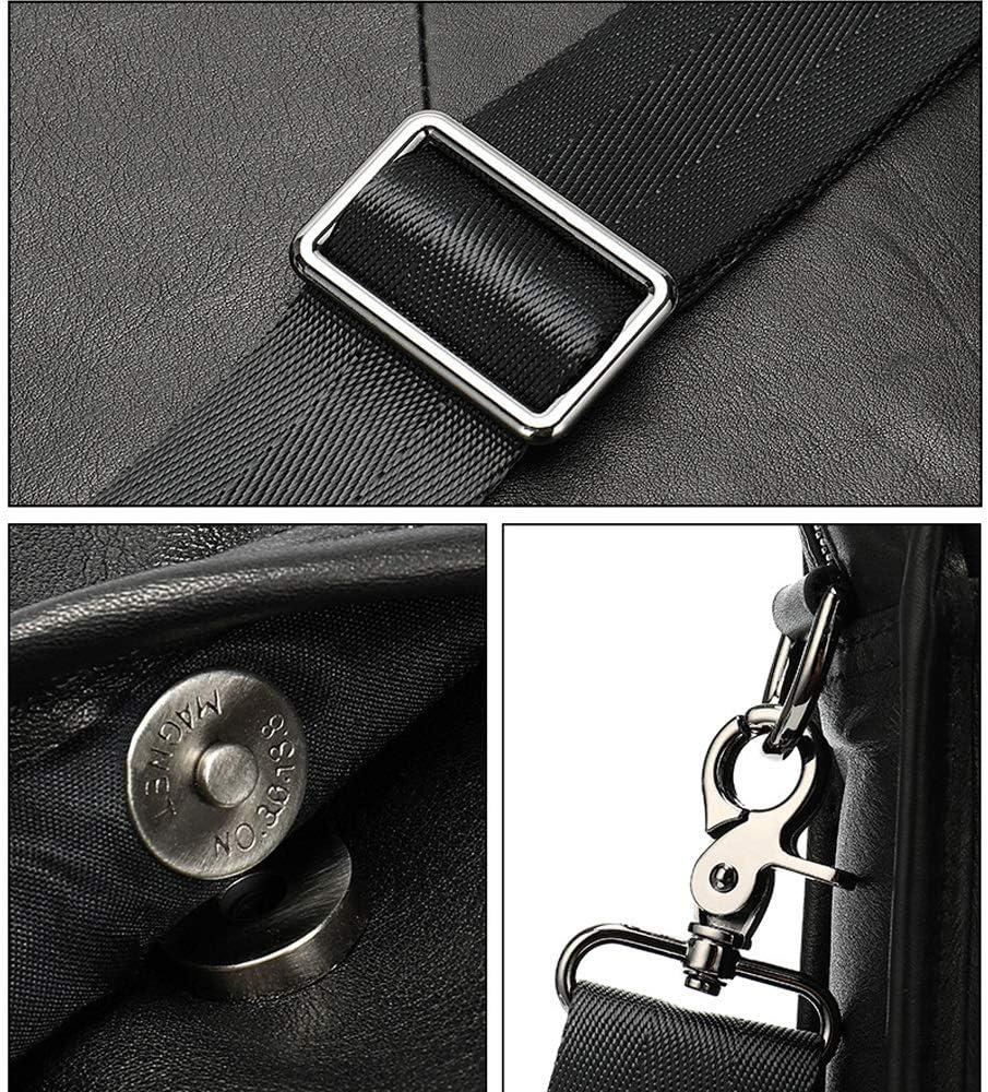 Qinniao Briefcase 26.5x8x29.8cm Briefcase Large Capacity Multi-Functional Horizontal Business Handbag Black High-end Retro Mens Leather Shoulder Bag