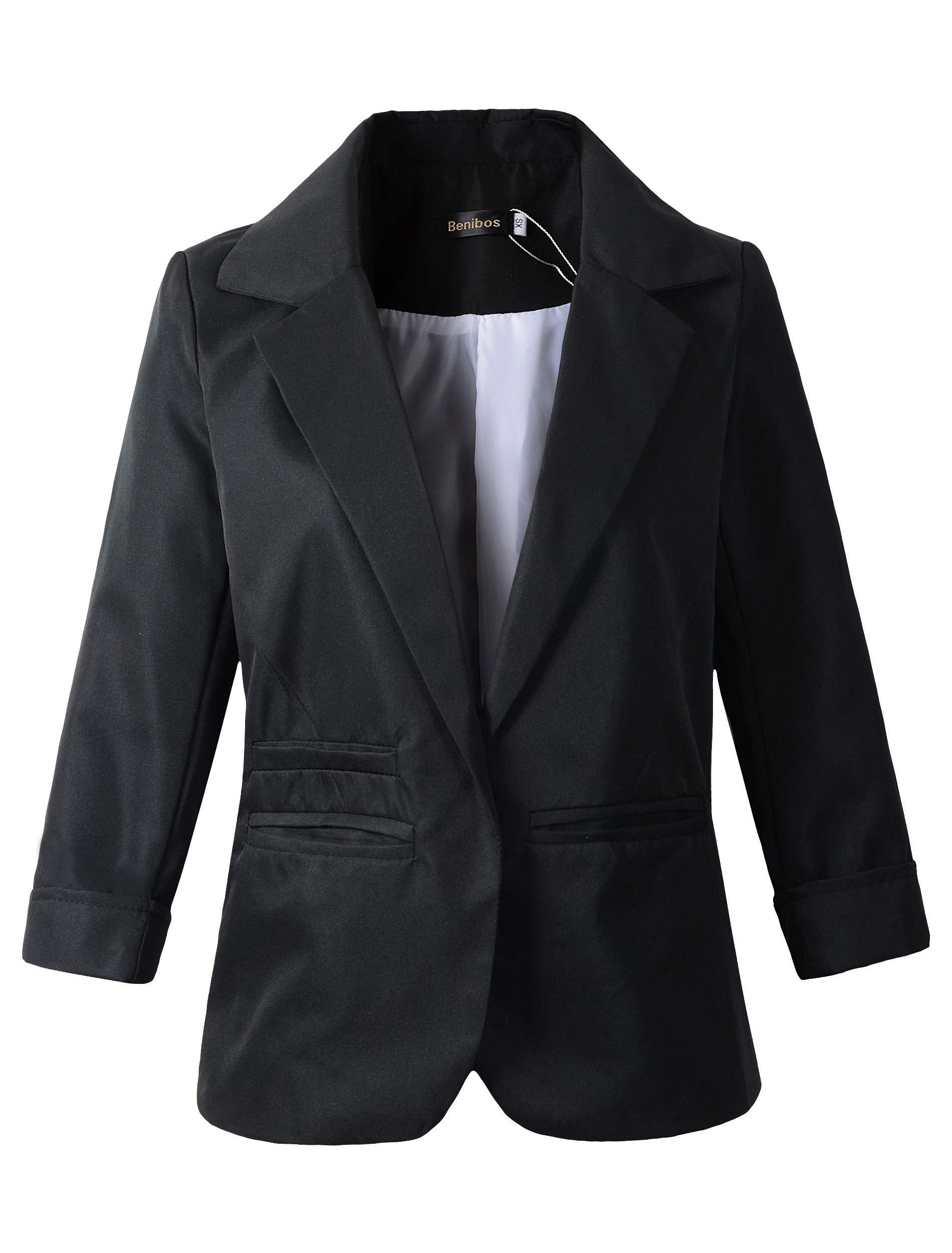 Women's Boyfriend Blazer Tailored Suit Coat Jacket (XS, 503Black)