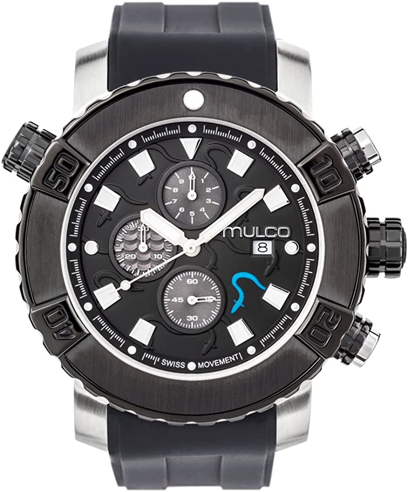Mulco Buzo EEL Quartz Swiss Chronograph Movement Men s Watch Premium Analog Display with Accents Silicone Watch Band Water Resistant Stainless Steel Watch Ion-Plated