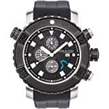 Mulco Buzo EEL Quartz Swiss Chronograph Movement Men's Watch | Premium Analog Display with Accents | Silicone Watch Band | Water Resistant Stainless Steel Watch | Ion-Plated