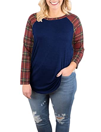 925230662 Plus Size Womens Plaid Raglan Long Sleeve T Shirts Baseball Tee Fall Casual  Tshirts Tunic Tops