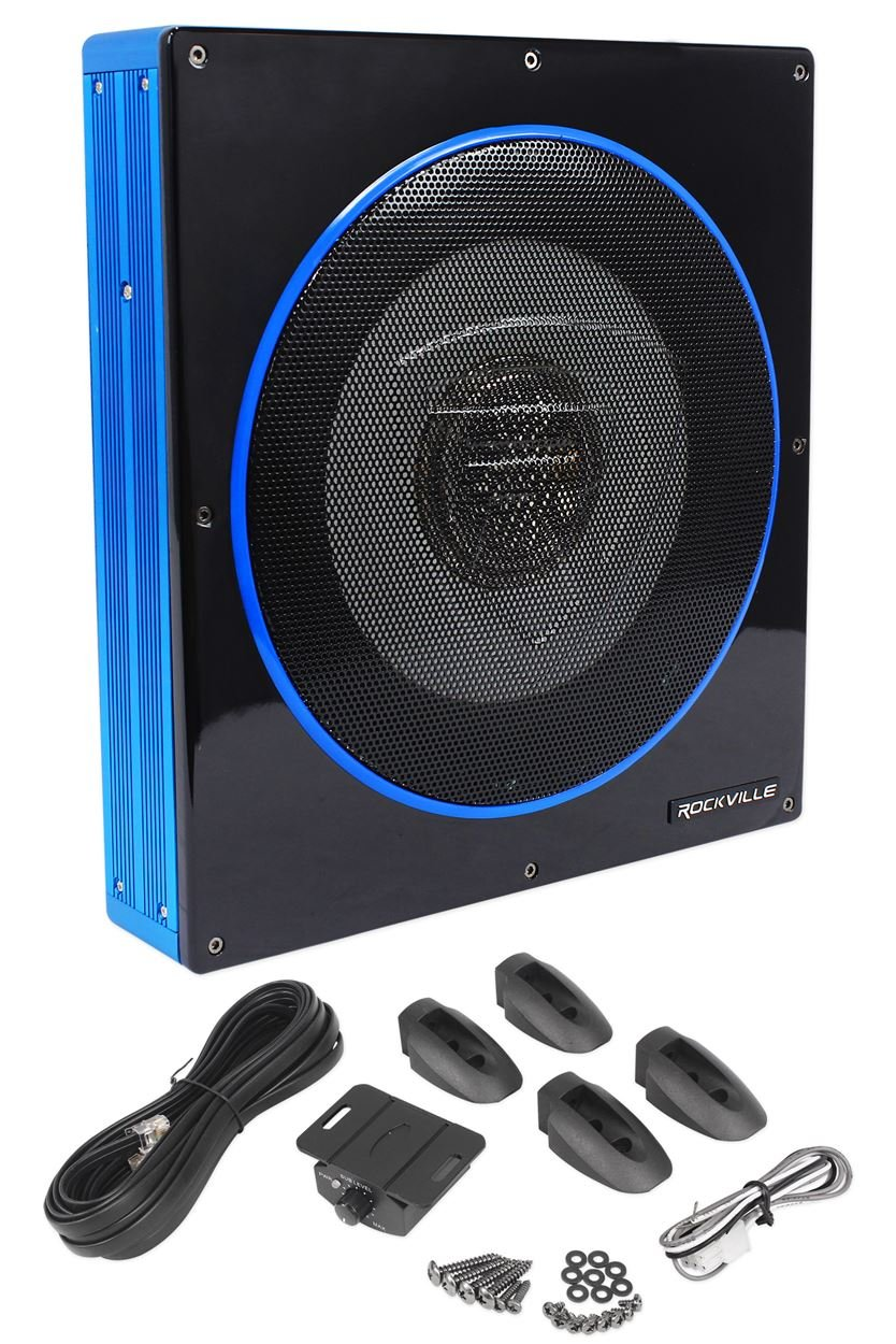Rockville RW10CA 10'' 800 Watt Slim Low Profile Active Powered Car Subwoofer Sub by Rockville