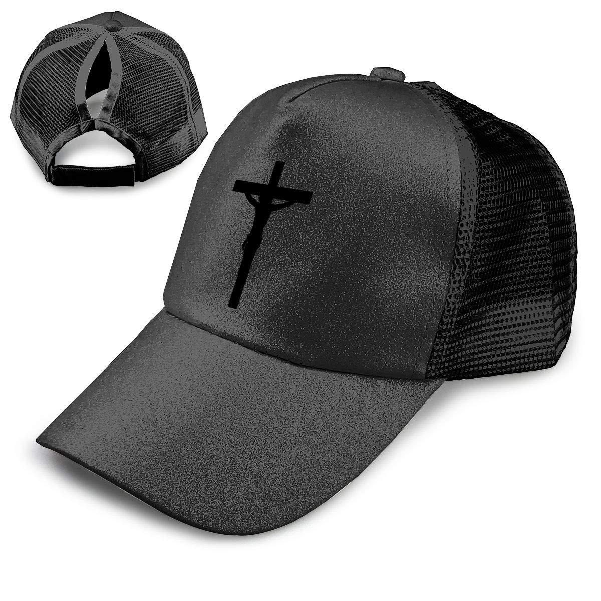 Crucifixion Ponytail Messy High Bun Hat Ponycaps Baseball Cap Adjustable Trucker Cap Mesh Cap
