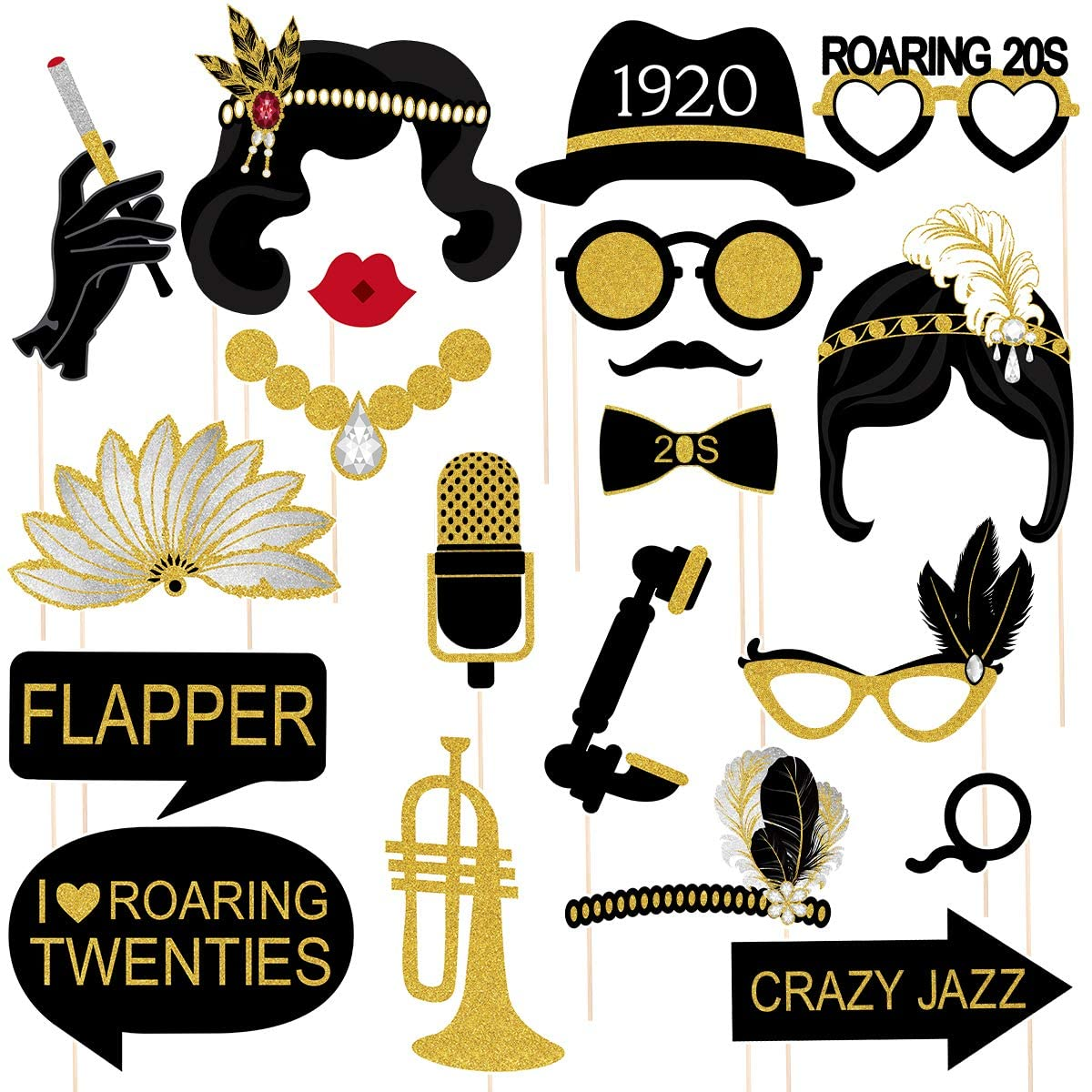 Amosfun 20PCS Twenties Art Deco Jazz Photo Booth Props 1920s Jazz Fashion Roaring 20S Party Decoration Supplies Great for Birthday, Wedding Party