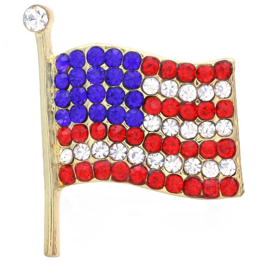 Soulbreezecollection American Flag Star USA Pin Brooch 4th of July Independence Day Jewelry (Small-GLD)